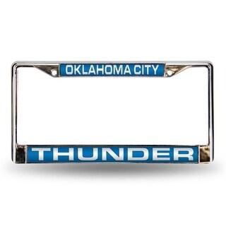 Oklahoma City Thunder Laser Cut Chrome License Plate Frame - Blue