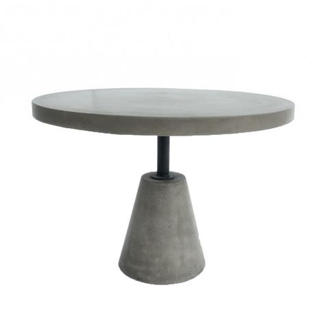 Round Shaped End Table with Concrete Top and Base, Gray