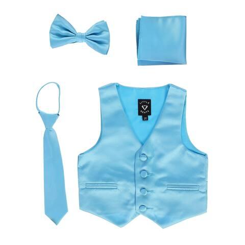 Lito Baby Boys Aqua Satin Vest Zipper Tie Hanky Bowtie Clothing Set 12-18M - 12-18 Months