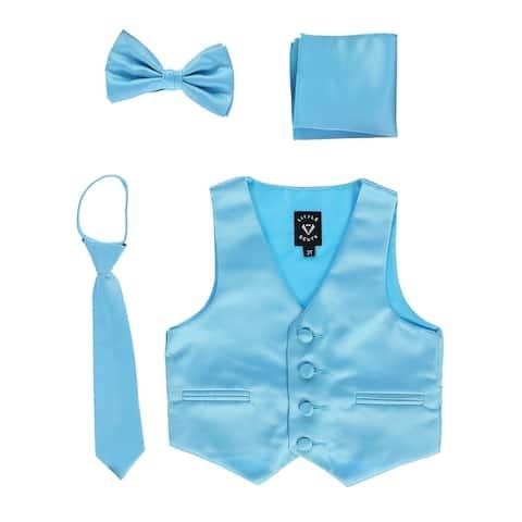 Lito Baby Boys Aqua Satin Vest Zipper Tie Hanky Bowtie Clothing Set 18-24M - 18-24 Months
