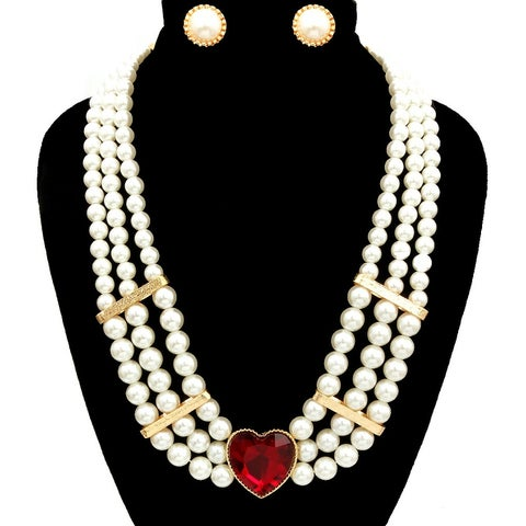 Pearl Layered Heart Necklace Set