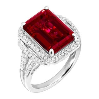 10 ct Created Ruby & White Sapphire Cocktail Ring in Sterling Silver - Red