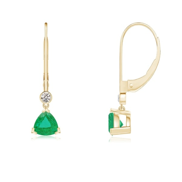 Angara Leverback Emerald and Diamond Earrings in White Gold