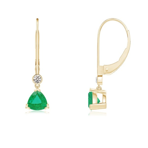 Angara Leverback Emerald and Diamond Earrings in White Gold Jojwd