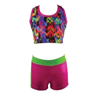 Reflectionz Girls Fuchsia Multi Print Metallic Mesh 2 Pc Short Set