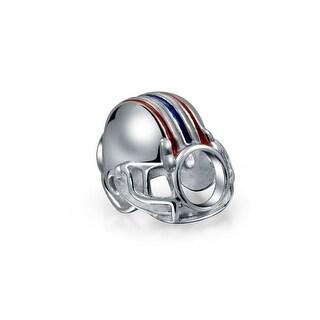Bling Jewelry 925 Silver Sports Football Helmet Enamel Bead Charms