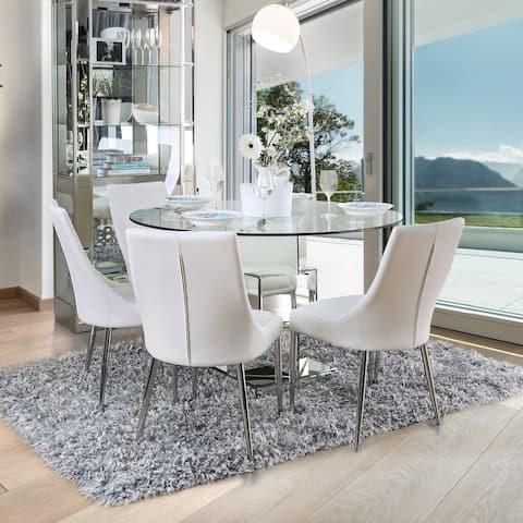 Furniture of America Fiti Contemporary White 5-piece Round Dining Set