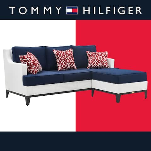 """Tommy Hilfiger Hampton Outdoor Mesh 78"""" Sectional, Coastal White and Navy"""
