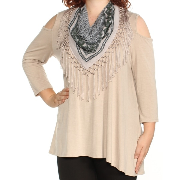 f2422b72c9749 Shop STYLE   CO Womens Beige Cold Shoulder Fringed W scarf Long Sleeve Boat  Neck Top Size  XL - Free Shipping On Orders Over  45 - Overstock - 23457419