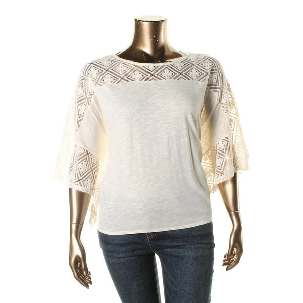 Two by Vince Camuto Womens Blouse Modal Blend Lace-Trim