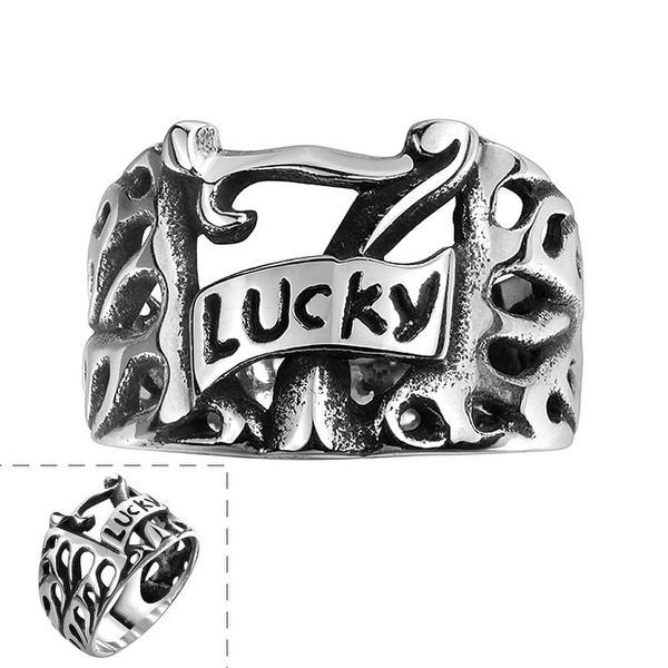 Vienna Jewelry Lucky 7's Stainless Steel Ring