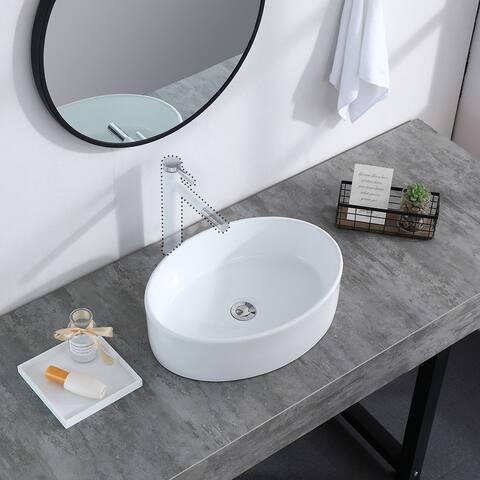 Bathroom Sink Above Counter Oval Bowl Ceramic Sink White Porcelain