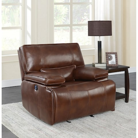 Southwick Saddle Brown Pillow Top Arm Power Glider Recliner