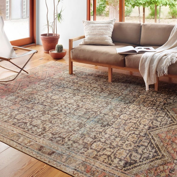 Alexander Home Tremezzina Printed Geometric Botanical Distressed Rug. Opens flyout.
