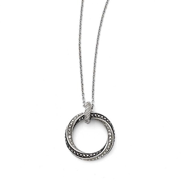Chisel Stainless Steel Black/Clear CZ Antiqued Circle Necklace (1 mm) - 18 in