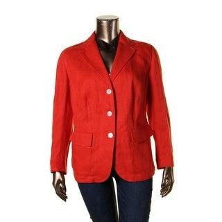 Lauren Ralph Lauren Womens Plus Three-Button Blazer Linen Pattern
