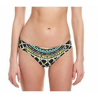 Trina Turk NEW Black Women's Size 4 Tiki Shirred Bikini Bottom Swimwear