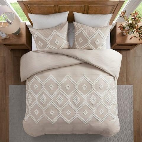 Madison Park Hollis Taupe Cotton Duvet Cover Set