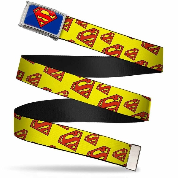 Superman Fcg Blue Chrome Super Shield Diagonal Yellow Red Webbing Web Belt
