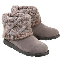 Women's Muk Luks Ankle Boots With Sweater Knit Cuff