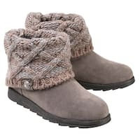 Women's Muk Luks Ankle Boots with Sweater Knit Cuff - Light Gray - Size 11