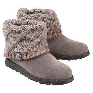 Women's Muk Luks Ankle Boots with Sweater Knit Cuff - Light Gray - Size 9