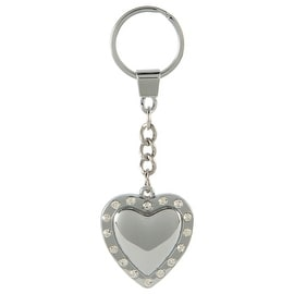 Pilot Automotive Silver Crystal Heart Key Chain