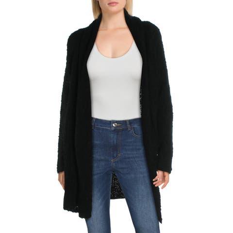 Joie Solome Women's Wool Blend Fuzzy Open Front Shawl Collar Cardigan Sweater