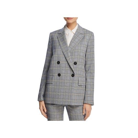 Theory Womens Piazza Double-Breasted Blazer Wool Plaid