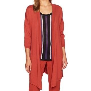 Anne Klein Orange Women's Size Small S Open Side-Slits Cardigan