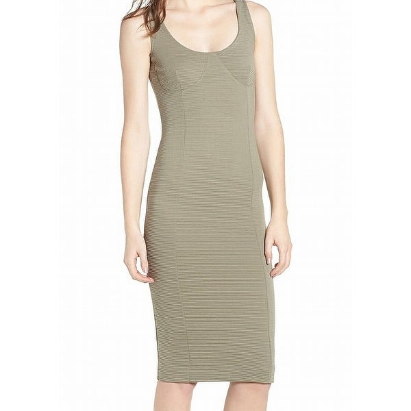 cdf28735c6885 TopShop Olive Green Women's Size 4 Ribbed Underbust Midi Sheath Dress