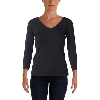 Three Dots Womens Knit Top 3/4 Sleeves V-Neck