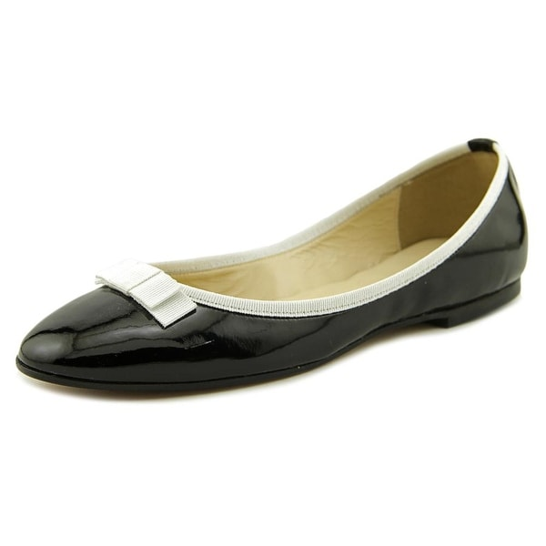Glitter Pink Audrey   Round Toe Patent Leather  Ballet Flats