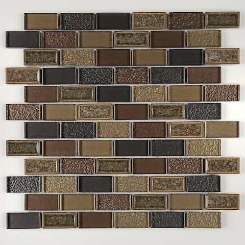 Crystal Shores 2X1 BrickJoint Mosaic Aurelian Seas - 12.75 x 11.75 - 12.75 x 11.75