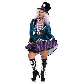 Womens Sexy Plus Size Delightful Mad Hatter Costume
