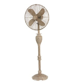 "53"" Whitewash Weathered Muriel Floor Fan with Decorative Base"