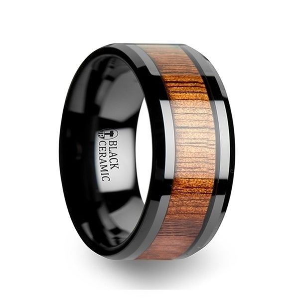 THORSTEN - ACACIA Koa Wood Inlaid Black Ceramic Ring with Bevels - 12mm