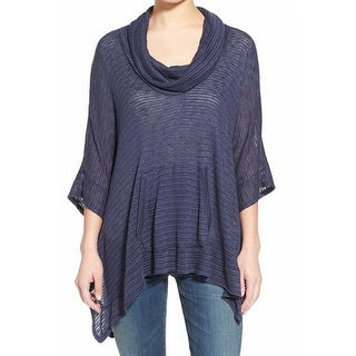 Splendid NEW Navy Blue Womens Size Small S Cowl Neck Poncho Sweater