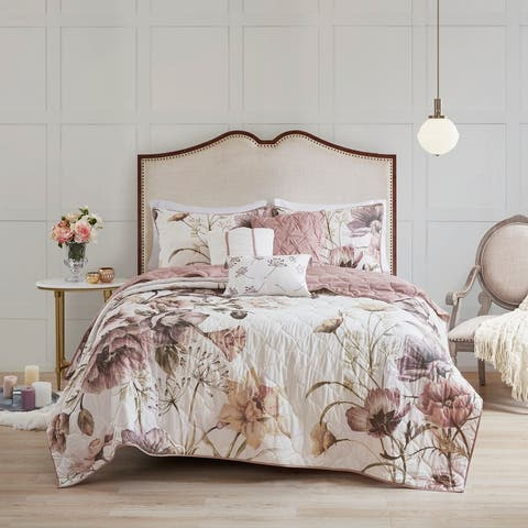Madison Park Gisele Blush 6 Piece Floral Print Reversible Cotton Quilted Coverlet Set