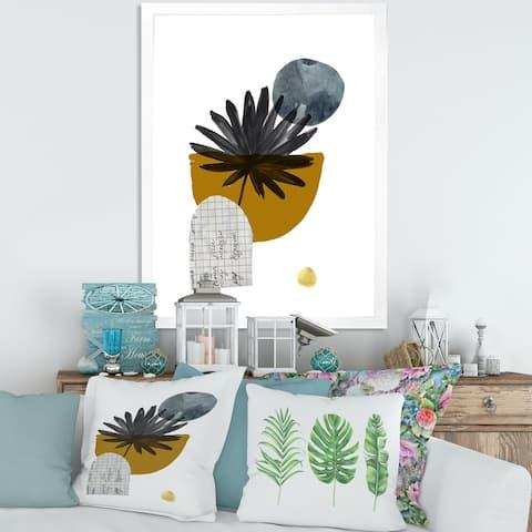 Designart 'Tropical Palm Leaf & Abstract Geometry Shapes I' Modern Framed Art Print