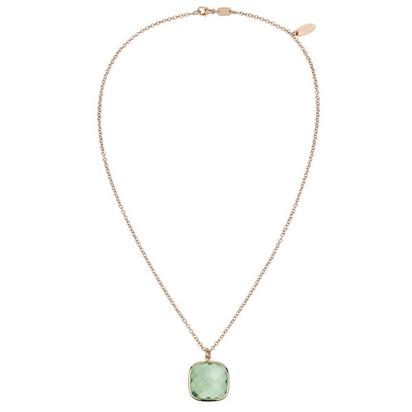 Zoccai 925 Simulated Green Amethyst Pendant in Rose Gold-Toned Sterling Silver