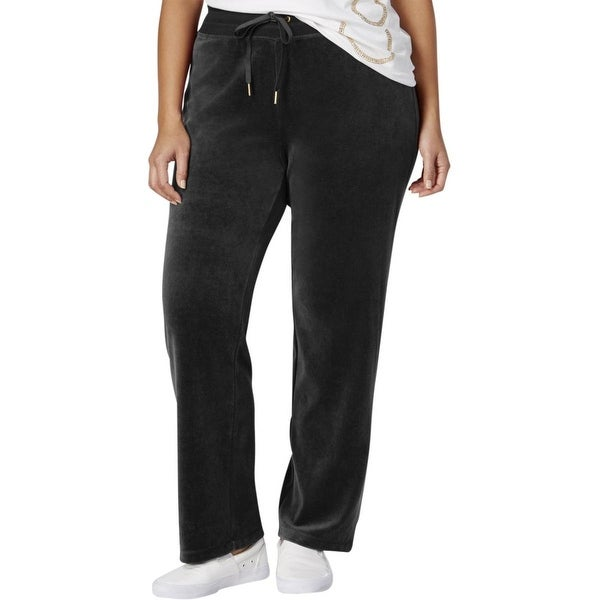 986a915e1e4 Shop Calvin Klein NEW Black Womens Size 2X Plus Velour Drawstring Pants -  Free Shipping On Orders Over  45 - Overstock - 18308850