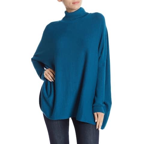 Joseph A. Womens Sweater Size XL Blue Cosair Long Sleeve Turtleneck Mock