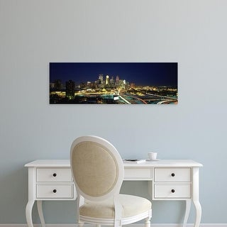 Easy Art Prints Panoramic Image 'Buildings lit up at night, Minneapolis, Hennepin County, Minnesota' Canvas Art