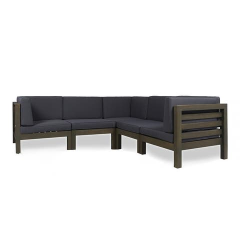 Oana Outdoor 5-seat V-shaped Acacia Sectional Sofa Set by Christopher Knight Home