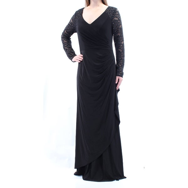 Shop Womens Black Long Sleeve Fulllength Faux Wrap Straight Leg