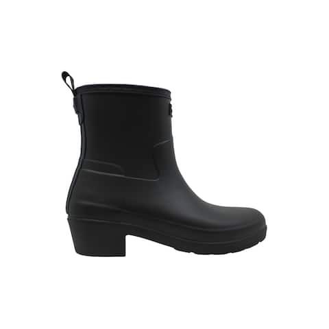 Hunter Womens Refined Low Heel Ankle Biker Rubber Almond Toe Ankle Rainboots - 8