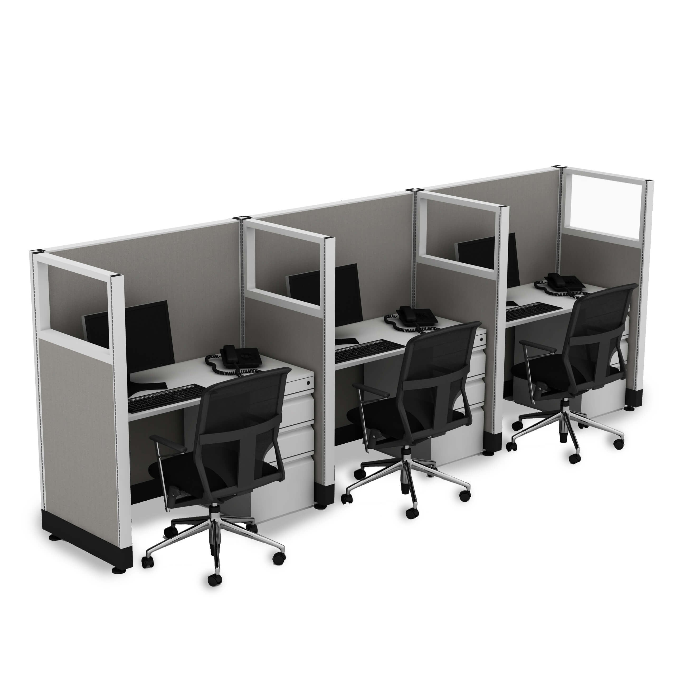 Cubicle Workstations 53H 3pack Inline Powered (4x4 - Walnut Desk Silver Paint - Assembled)
