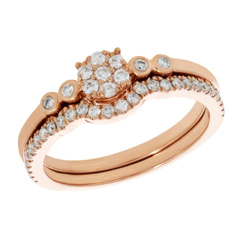 Prism Jewel 0.35Ct Round G-H/I2 Natural Diamond Bridal Sets