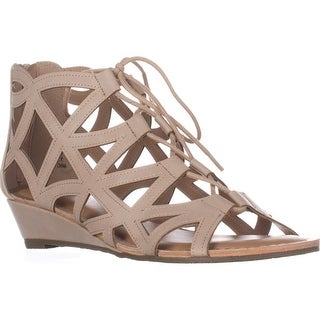 Esprit Cacey Geometric Cutout Lace Up Wedge Ankle Booties, Beige